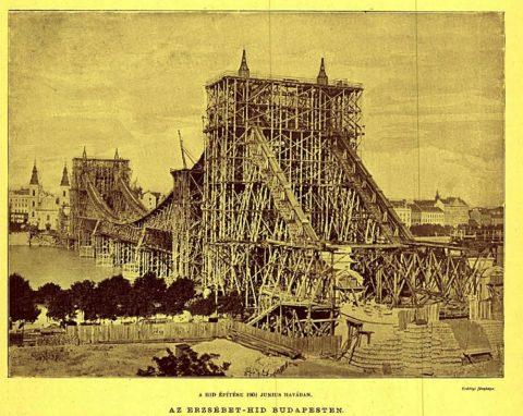 Az épülő Erzsébet híd anno 1901