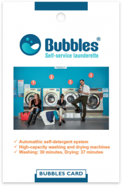 Bubbles laundries card front