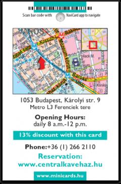 Central Cafe and Restaurant card back