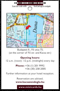 Kacsa Restaurant card back