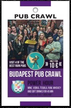 Budapest Pub Crawl kártya eleje
