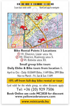 Yellow Zebra Bike Tours card back